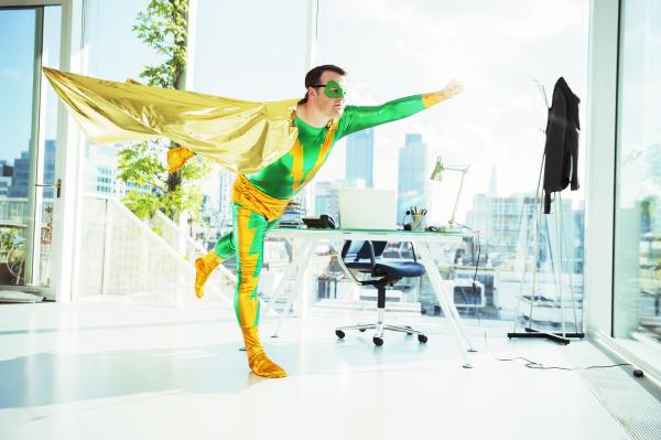 superhero, flying, in, office - 17171328