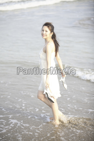 japanese woman on the beach