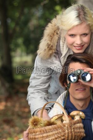 couple enjoying the forest