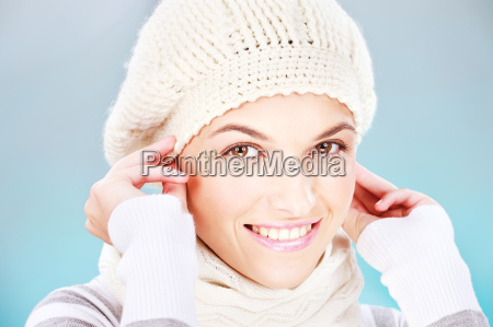 pretty woman with scarf and winter