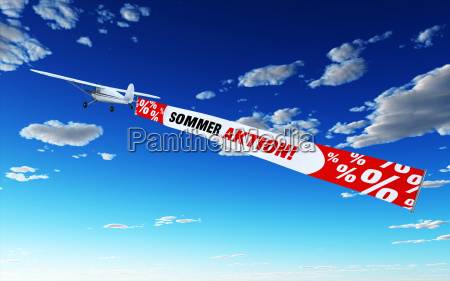 airplane with banner summer action