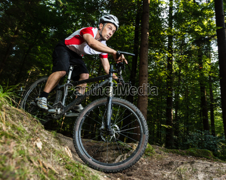 downhill mountain bikers in