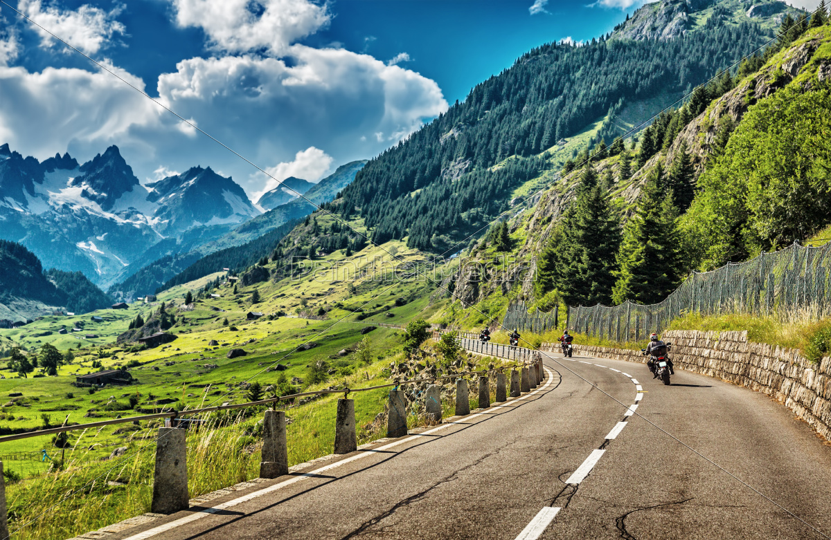 group, of, bikers, touring, european, alps - 11817455