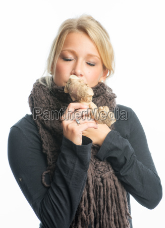 sick woman with ginger tuber