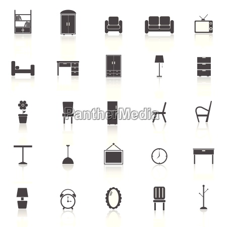 furniture icons with reflect on white