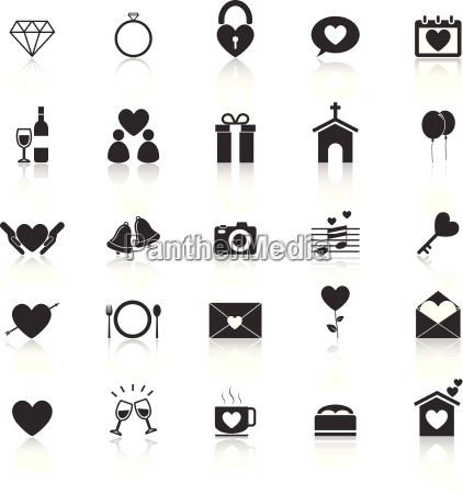wedding icons with reflect on white