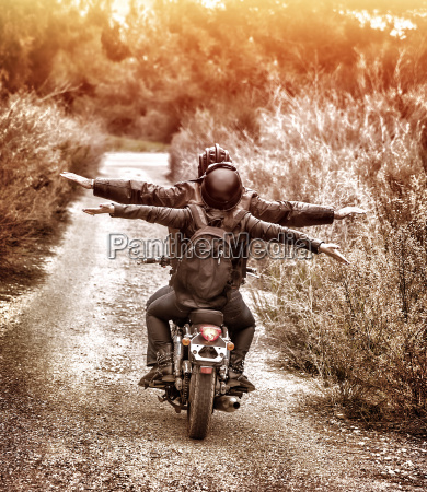 riding on motorbike with pleasure
