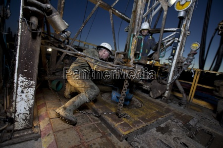 drillers working on the drill floor