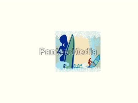 vertor abstract frame surf beach illustration