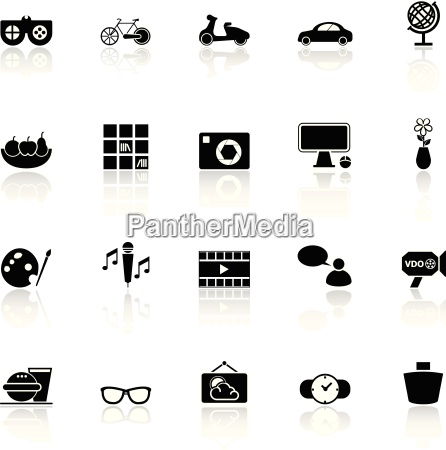 favorite and like icons with reflect