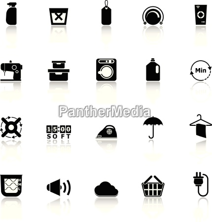 laundry icons with reflect on white