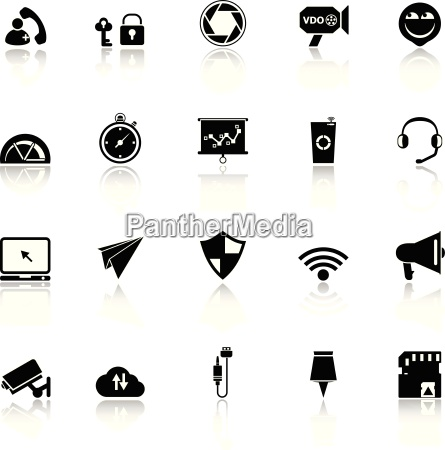 smart phone screen icons with reflect
