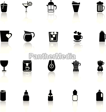 variety drink icons with reflect on