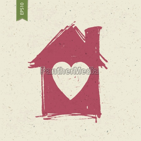 house sign with heart on paper