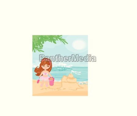 little girl at tropical beach making