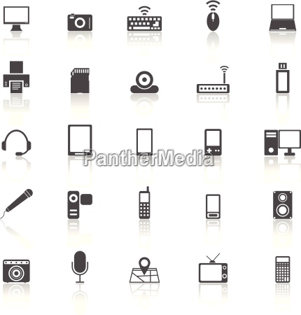 gadget icons with reflect on white