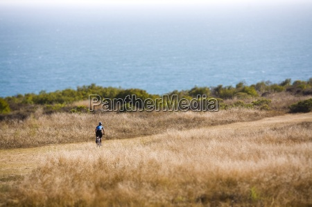 mountain biking in a seaside park