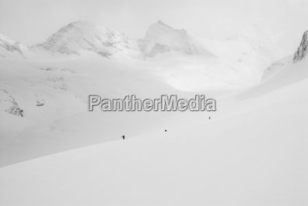 a group of backcountry skiers tour