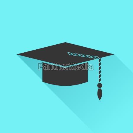 graduation cap icon isolated on azure