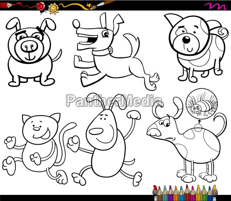 dogs set cartoon coloring page