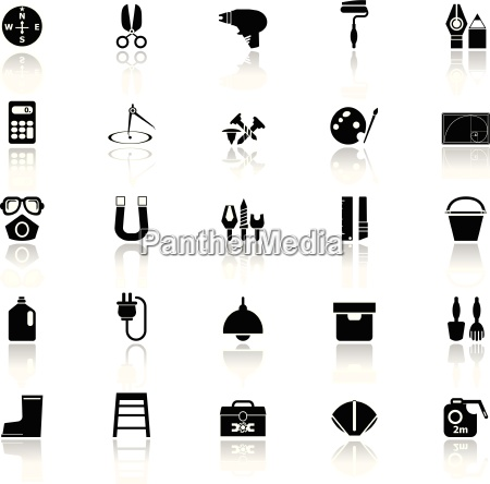 diy tool icons with reflect on