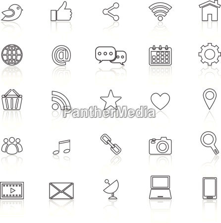 social media line icons with reflect