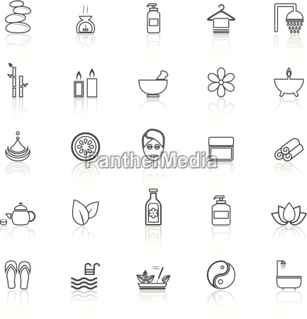 spa line icons with reflect on