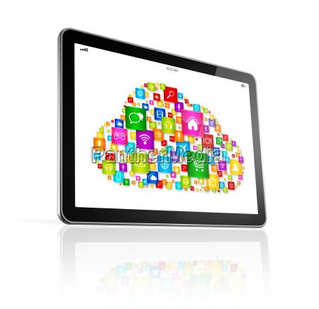 cloud computing symbol on digital tablet