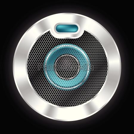 cool metallic speaker with hexagon mesh