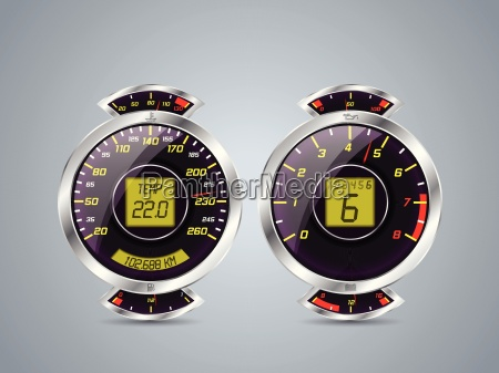shiny metallic speedometer and rev counter