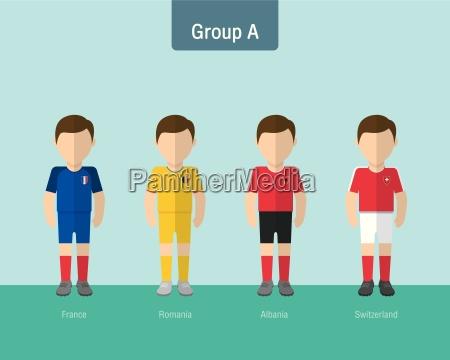 soccer uniform group a flat design