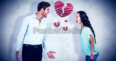 composite image of screaming couple having
