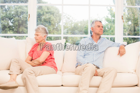 senior couple not speaking after an