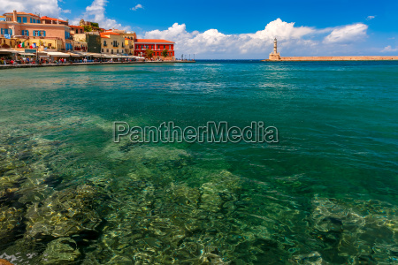 old harbour in sunny day chania