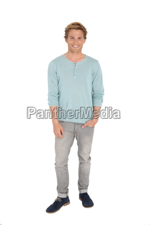 young handsome man standing on white