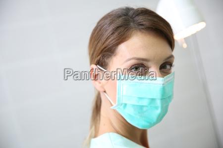 portrait of surgeon woman wearing mask