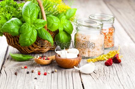 spices garlicsaltpepper and basil
