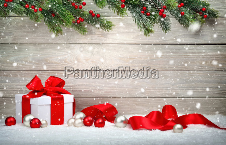 christmas wood background with gift and