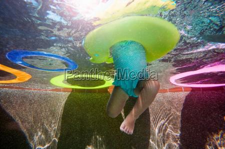 underwater shot of girl kicking legs