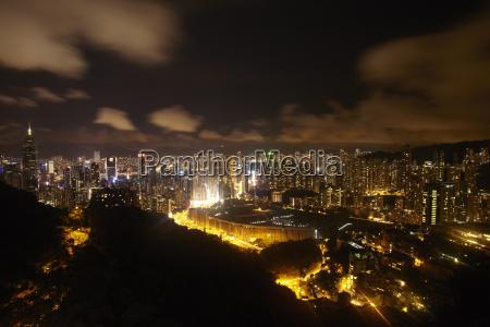 aerial view of rush hour hong
