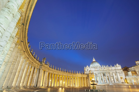 st peters basilica lit up at