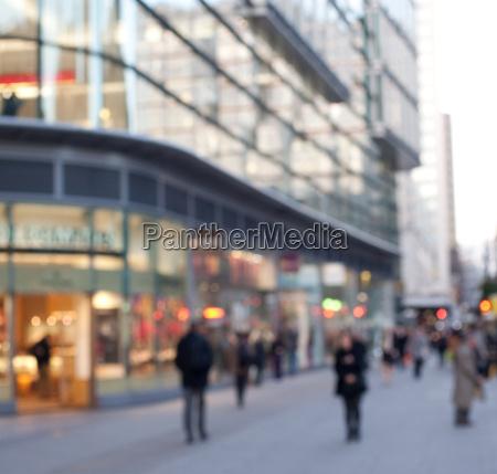 blurred street scene london england