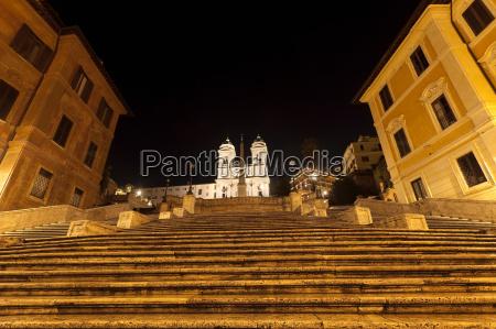 spanish steps lit up at night