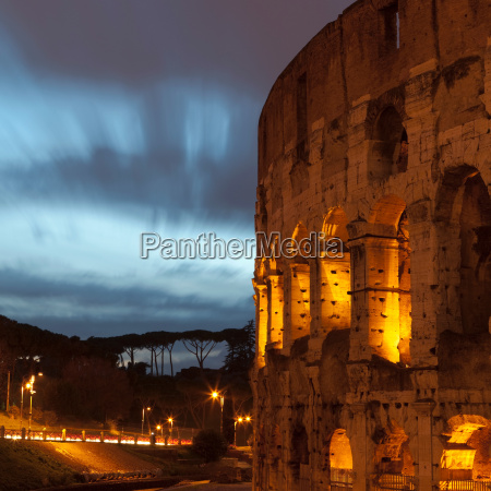 colosseum in rome lit up at