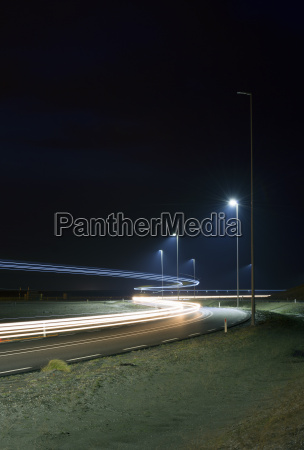 night time shot of new road