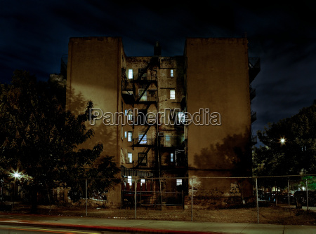 apartment block at night williamsburg brooklyn