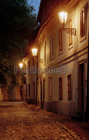 streets at night in prague czech
