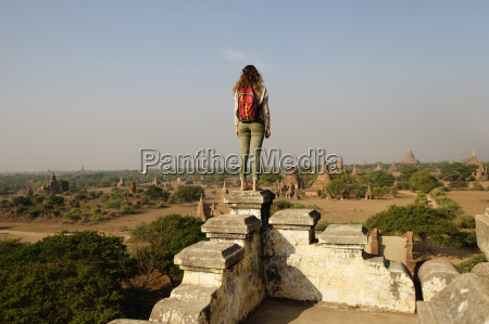 woman looking at view bagan archaeological