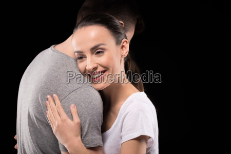 portrait of smiling woman bonding to