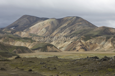 iceland mountain scenery with cloudy sky